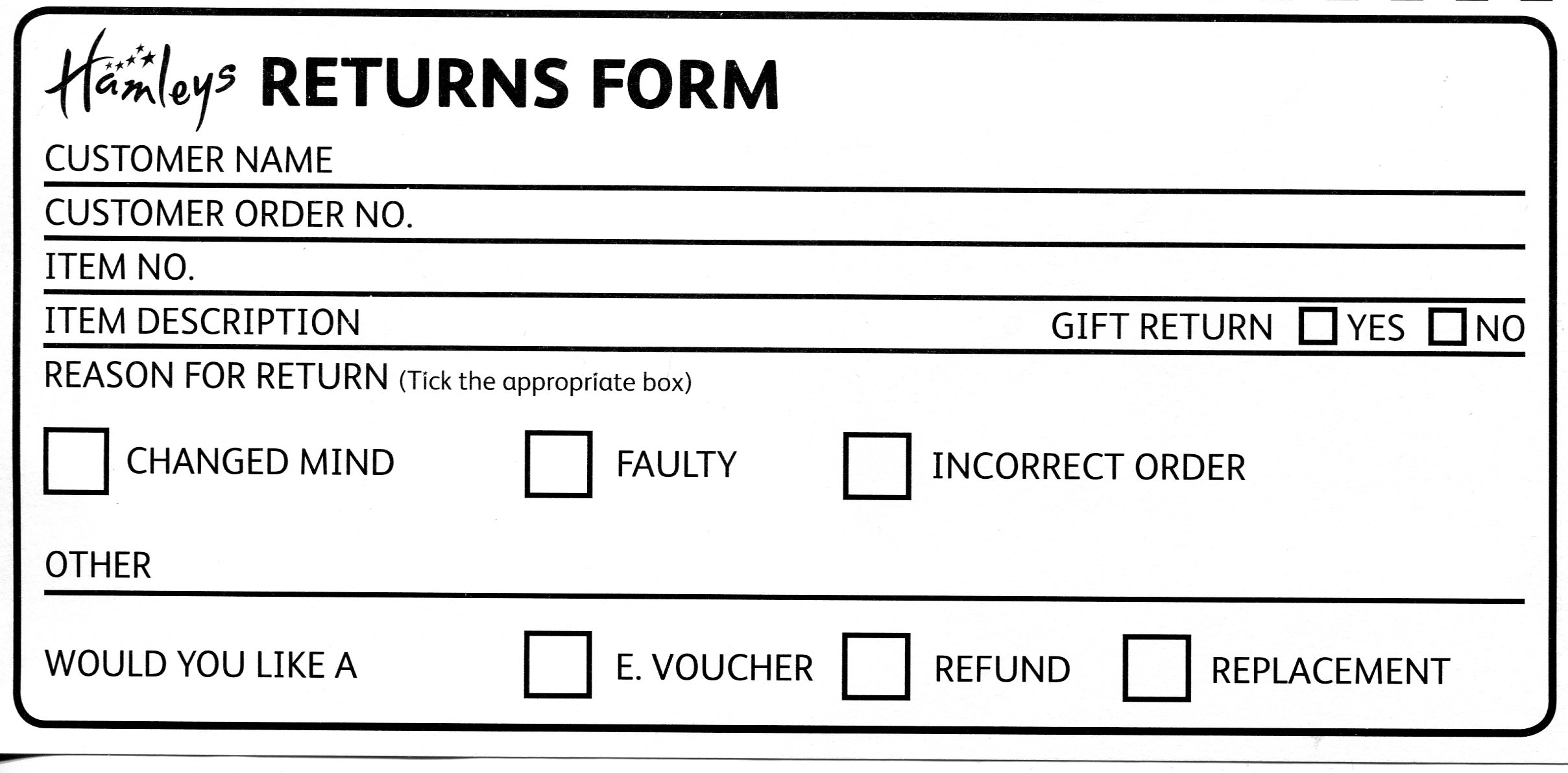 Hamleys Toys and Games – Return Label Template